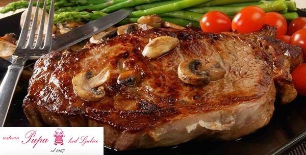 Svinjski odrezak u umaku od šampinjona, punjena pljeskavica i bečki odrezak za dvoje uz goveđu juhu