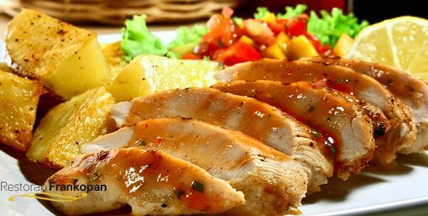 Pečena patka, restani krumpir, zagorska juha, salata i deser