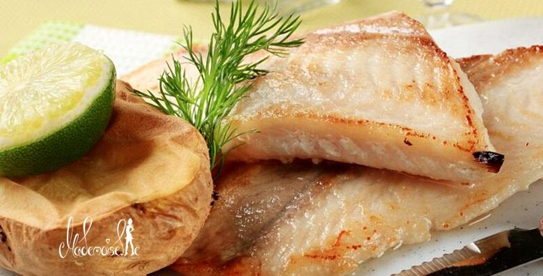 Orada ili brancin, riblja pašteta, krumpir na mediteranski