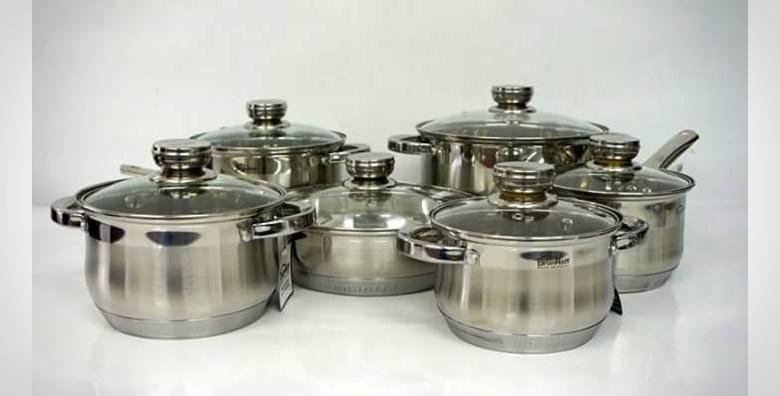 Set kuhinjskog inox posuđa od 12 dijelova