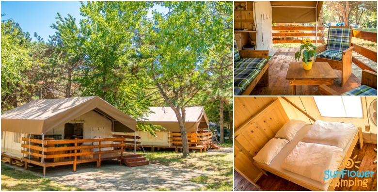 POPUST: 30% - GLAMPING LJETOVANJE- luksuzno kampiranje u Savudriji za 5 osoba - 1 noćenje u potpuno opremljenom šatoru u kampu smještenom uz 1.800 m dugu plažu od 389 kn! (SunFlower camping 3*)