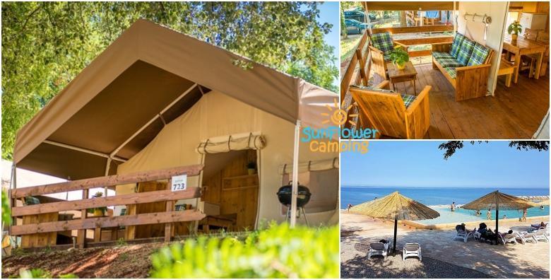 POPUST: 30% - GLAMPING U ISTRI - luksuzno kampiranje u Novigradu za 5 osoba, 1 ili više noćenja u potpunom opremljenom šatoru tik do mora uz korištenje bazena od 337 kn! (SunFlower camping 4*)
