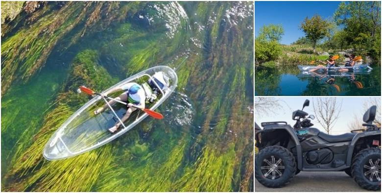 Kajakarenje u prozirnom kajaku i vožnja quadom za dvije osobe- zavirite u dubine rijeke Gacke na aktivnom izletu s uključenom opremom za 349 kn!