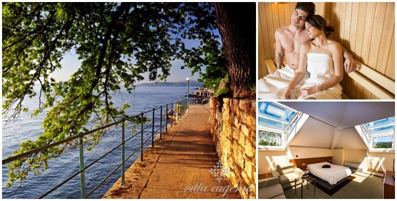 POPUST: 60% - LOVRAN 2 noćenja s doručkom za dvoje uz korištenje whirlpoola, saune i masažnih tuševa - wellness uživanje u Vili Eugenia 4* blizu šetališta Lungomare! (Hotel Villa Eugenia 4*)