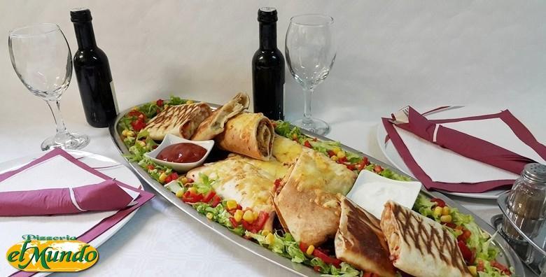 POPUST: 54% - Meksička plata za dvoje - 4 vrste tortilja s blagim i ljutim umakom uz aperitiv, hladno predjelo i desert semifreddo za 185 kn! (Pizzeria El Mundo)