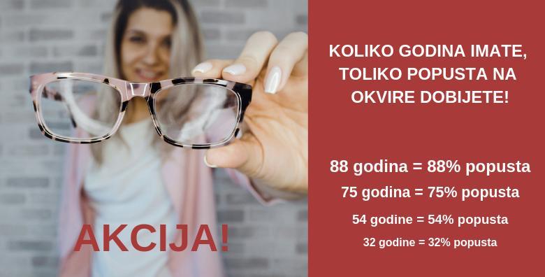 Okvir za naočale - koliko godina imate, toliko posto popusta ostvarujete!