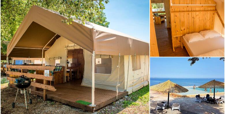 GLAMPING U ISTRI - luksuzno kampiranje u Novigradu za do 5 osoba, 1 ili više noćenja u potpunom opremljenom REGULAR šatoru u blizini mora uz korištenje bazena od 337 kn!