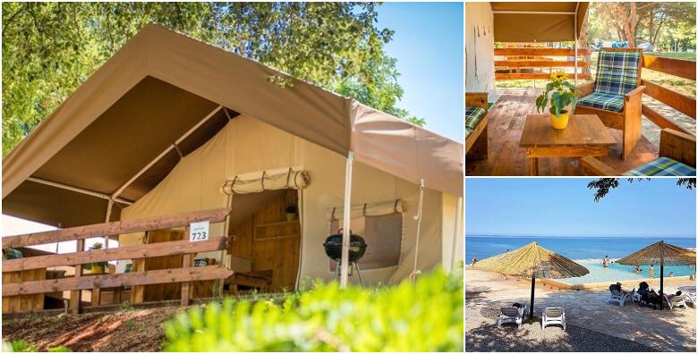 GLAMPING U ISTRI - luksuzno kampiranje u Novigradu za 5 osoba, 1 ili više noćenja u potpunom opremljenom DELUXE šatoru u blizini mora uz korištenje bazena od 389 kn!