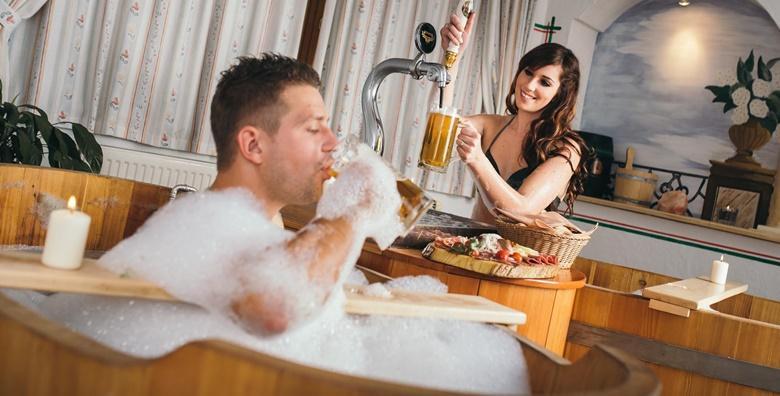 POPUST: 44% - SLOVENIJA, ZREČE Pivska kupka za dvoje uz saunu, domaće pivo i pizzete iz krušne peći - jedinstveni wellness doživljaj u rustikalnom ambijentu za 1.159 kn! (Hotel pod Roglo)