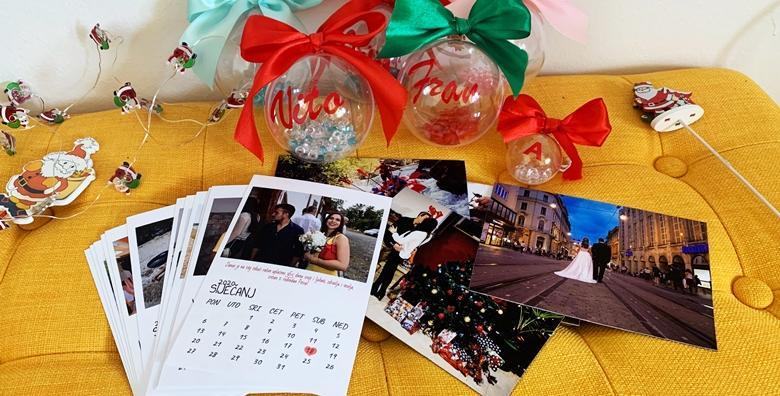 Personalizirani božićni set - 1 kuglica (8 cm) za bor s imenom, 1 magnet 10x14 sa slikom i kalendar za 12 mjeseci veličine 10x15 sa slikama po izboru za 79 kn!