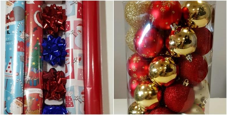 POPUST: 59% - Set kuglica i ukrasni papir - ukrasite božićno drvce prekrasnim kuglicama i poklone za najdraže umotajte u ukrasni papir raskošnih blagdanskih detalja već za 69 kn! (Brand Trade)
