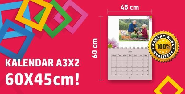 Fotokalendar dimenzija 30 x 45 cm